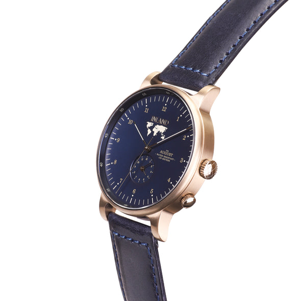 Buy incredible design watches online shipping worldwide / Watch THE AUGUST - ANTIQUE GOLD / NAVY - maison-inland - best designed watch shop online quality durable wristwatches / made in Canada