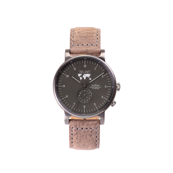 Buy incredibly designed watches online shipping worldwide / Watch THE AUGUST - CHARCOAL / OLIVE GREY - maison-inland / goes with all - best designed watch shop online quality classical elegant durable wristwatches / made in Canada