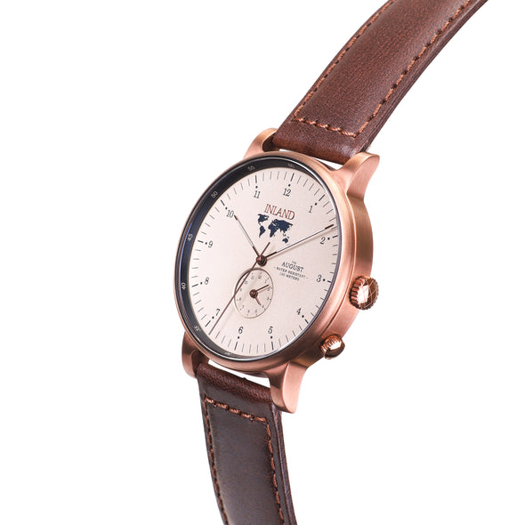 Buy elegant design watches online shipping worldwide / Watch THE AUGUST - COPPER / SAND - maison-inland / goes with all - best designed watch shop online quality classical elegant durable wristwatches / made in Canada
