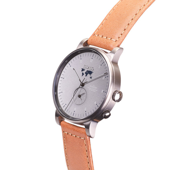 Buy casual grey orange design watches online shipping worldwide / Watch THE AUGUST - GREY / GREY - maison-inland  goes with all - best designed watch shop online quality classical elegant stylish resistant wristwatches / made in Canada