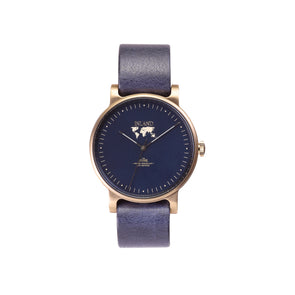 Buy distinguished woman's design watches online shipping worldwide / Watch THE JUNE - ANTIQUE GOLD / NAVY - maison-inland   goes with all - best designed watch shop online quality classical elegant stylish resistant wristwatches / top quality watches made in North America