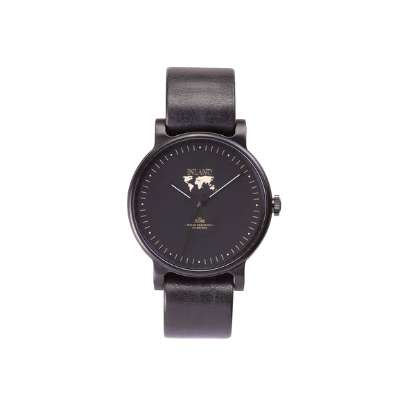 Buy astonishing design woman watches online shipping worldwide / Watch THE JUNE - BLACK in BLACK - maison-inland / goes with all - best designed watch shop online quality classical elegant stylish resistant wristwatches / top quality watches made in North America