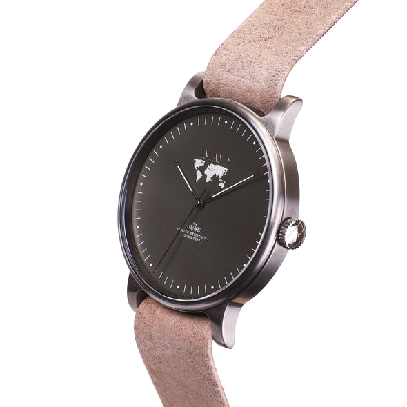 Buy luxurious waterproof women design watches online shipping worldwide / Watch THE JUNE - CHARCOAL / OLIVE GREY - maison-inland /  goes with all - best designed watch shop online quality classical elegant stylish resistant wristwatches / gorgeous top quality design made in North America