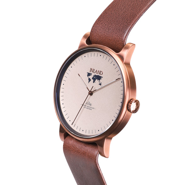Buy incredible stylish woman's watches online shipping worldwide / Watch THE JUNE - COPPER / SAND - maison-inland /  goes with all - best designed watch shop online quality classical elegant stylish resistant wristwatches / gorgeous top quality design made in North America