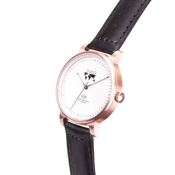 Purchase tasteful business woman wristwatch online worldwide shipping / Watch THE JUNE PETITE - ROSE GOLD / WHITE - maison-inland  / versatile - carefully designed watch shop online quality classical elegant stylish resistant wristwatches / elegant high quality watches great Canadian style
