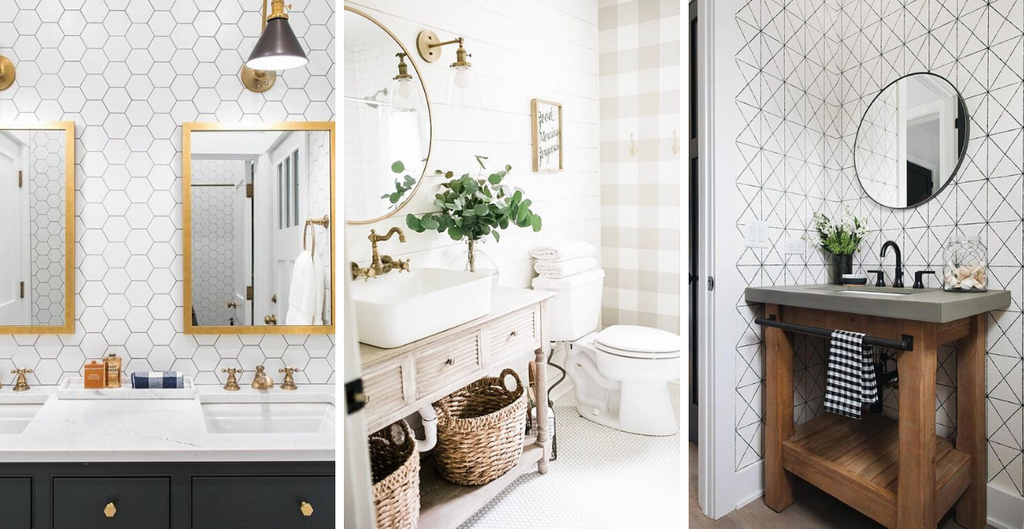 Renovating the bathroom in an easy and inexpensive way: 4 ideas with vinyl wallpaper