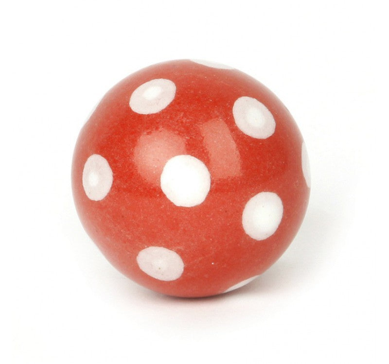 Large Red Ceramic Polka Dot Knob White - Decochic