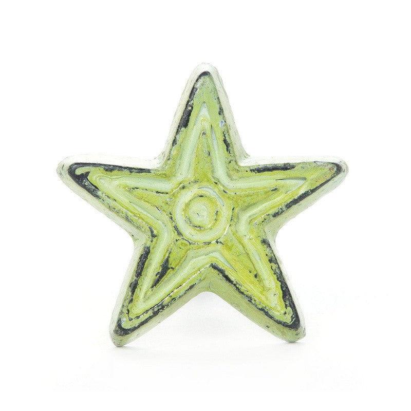 Large Ceramic Knob Light Green Star - Decochic