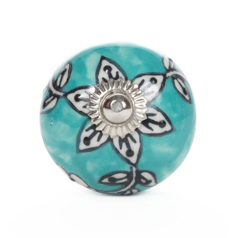 Turquoise Ceramic Knob with Stella Flower - Decochic