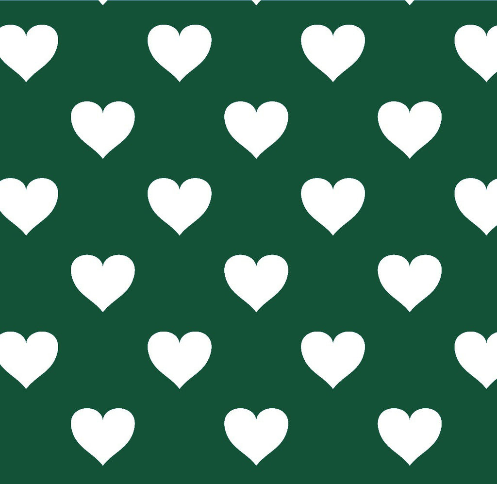 Hearts Green Wood Background FABRIC 48 x 266,5 cm - Decochic
