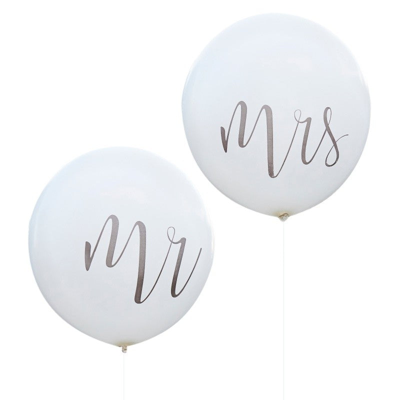 White balloons Mrs. and Mr. - Decochic