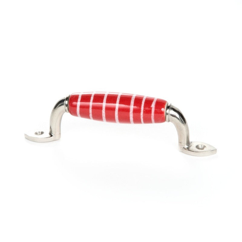 Handle in Red Ceramic with White Stripes - Decochic