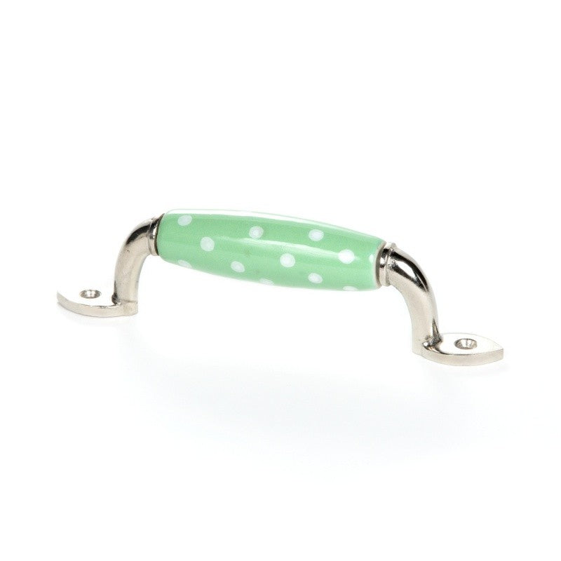 Handle in Green Ceramics with White Polka Dots - Decochic