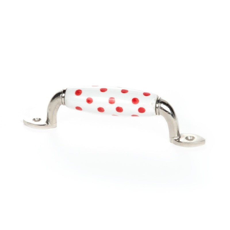 Red Polka Dot White Ceramic Handle - Decochic