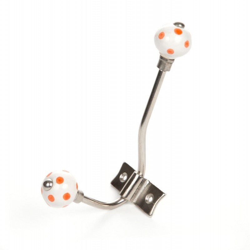 Orange Polka Dot Hanger White - Decochic
