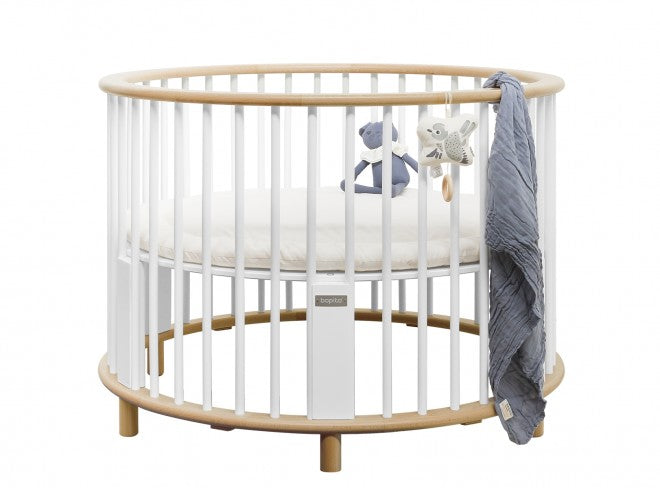 White and Wooden Baby Playpen with Rondo Bopita Wheels - Decochic