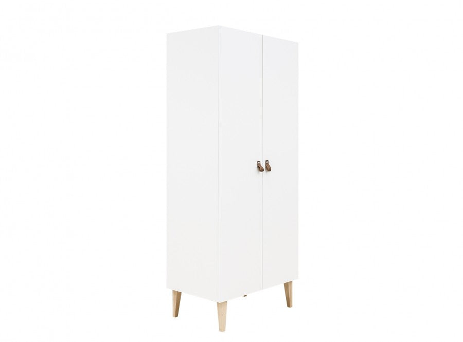 Wardrobe with 2 Doors Indy White / Natural Bopita - Decochic