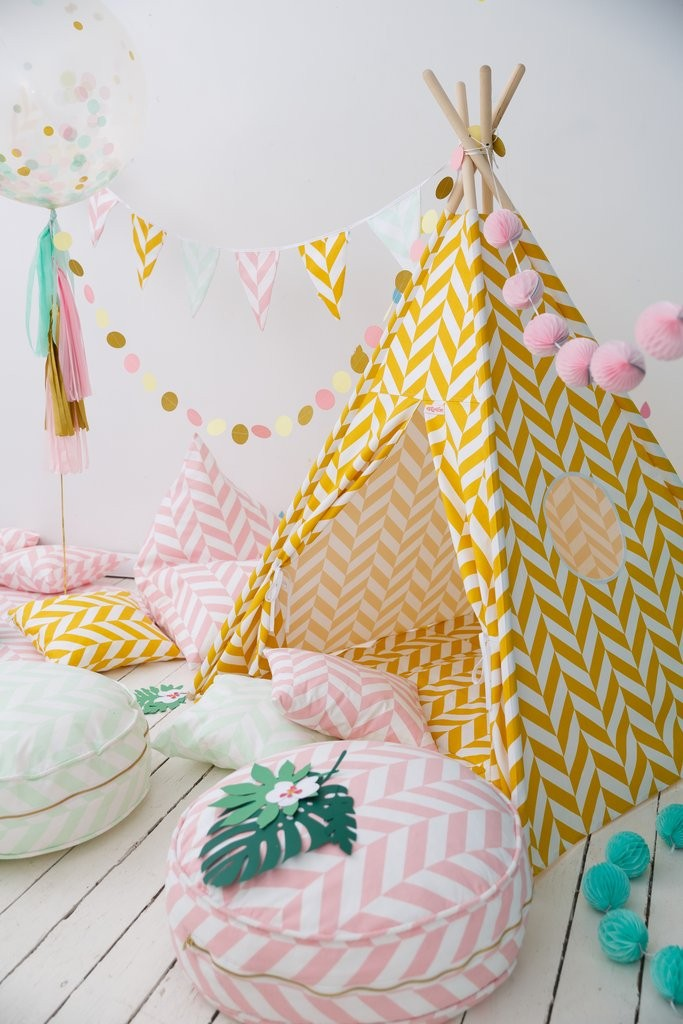 Indian Teepee Herringbone Senf Wigiwama - Decochic Tent