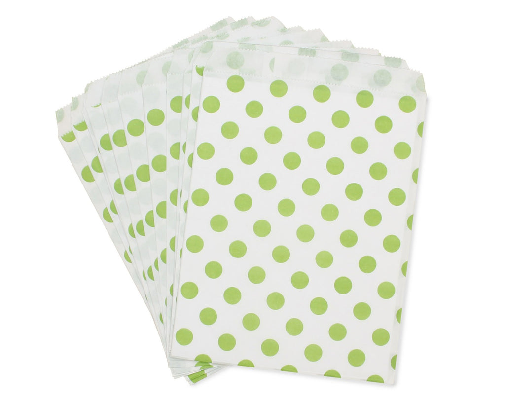 White paper bag with green polka dots - Decochic
