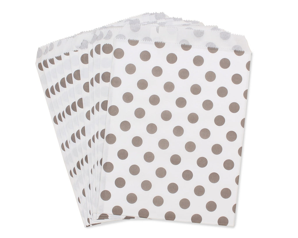 Bag in White Paper with Gray Polka Dots - Decochic