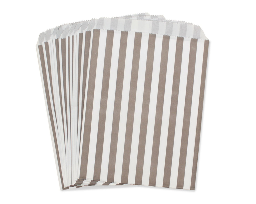 Gray Paper Bag with White Stripes - Decochic