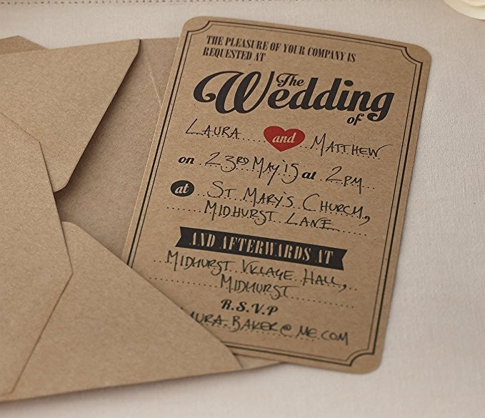 Kraft Wedding Invitations - Decochic
