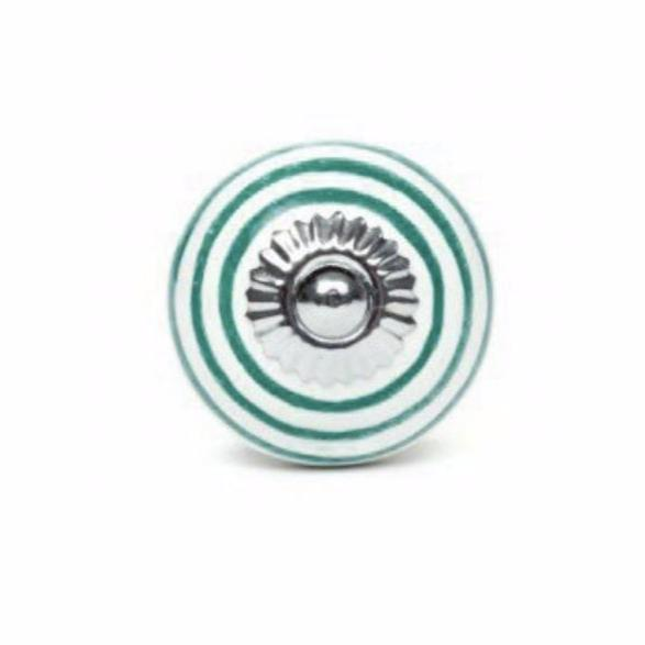 Large knob in dark green striped white ceramic - Decochic