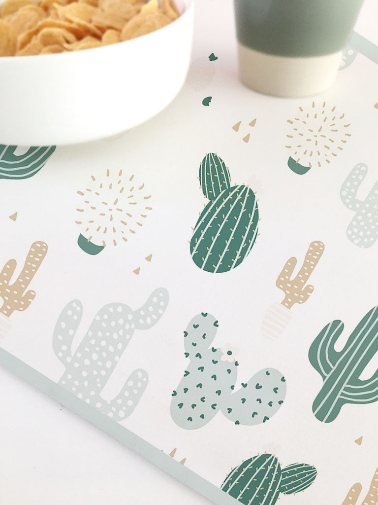 Set de Table Enfant en Cactus Vert Vinyle - Decochic