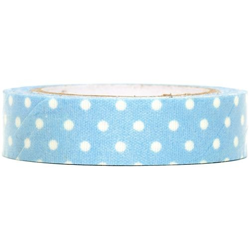 Blue Fabric Dots Tape with White Dots - Decochic