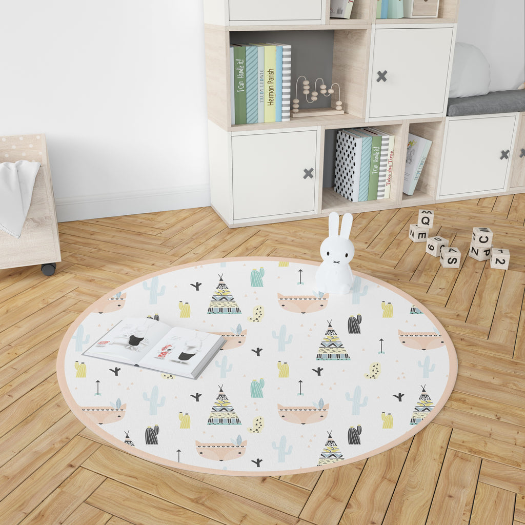 Little Indians Round Vinyl Rug - Decochic