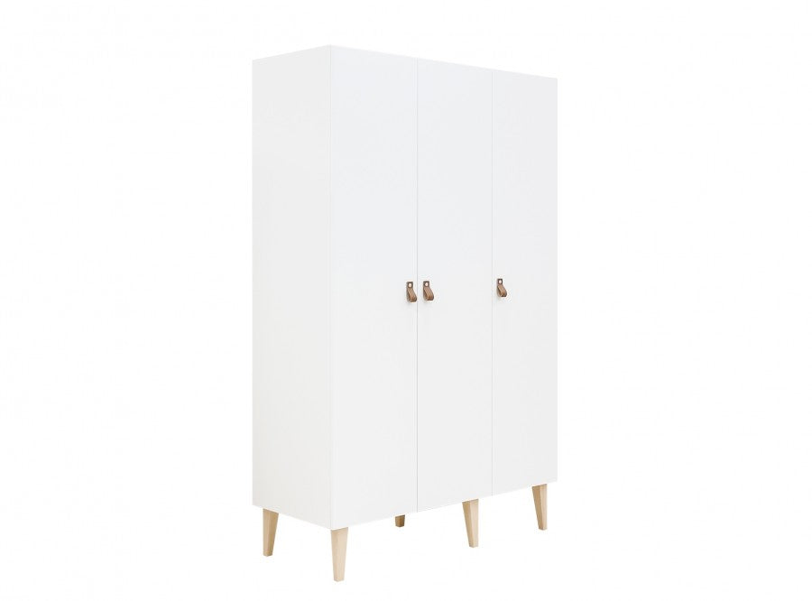 Wardrobe with 3 Doors Indy White / Natural Bopita - Decochic
