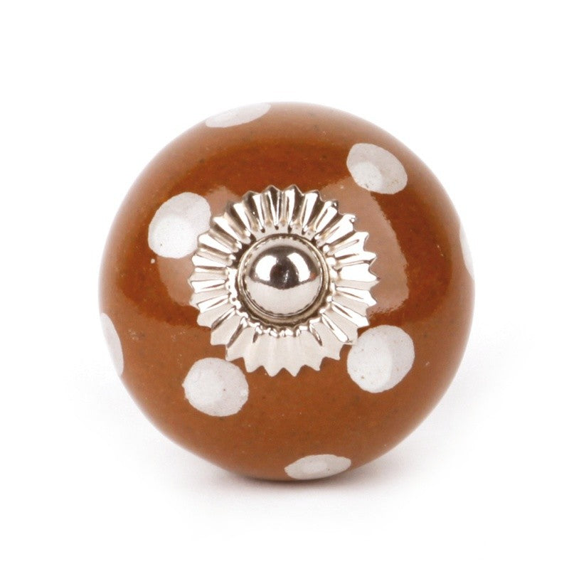 Large Ceramic Knob Brown and White Dots - Decochic