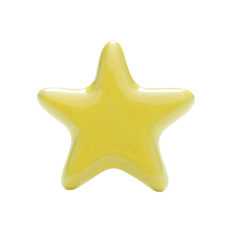 Yellow Star Ceramic Knob - Decochic