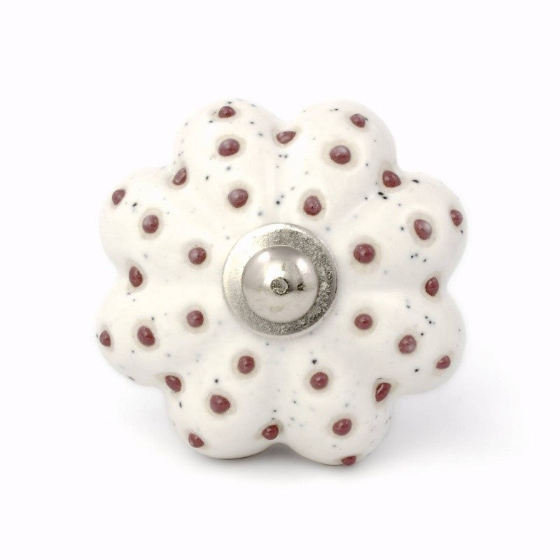 Brown Dots Flower Furniture Knob - Decochic