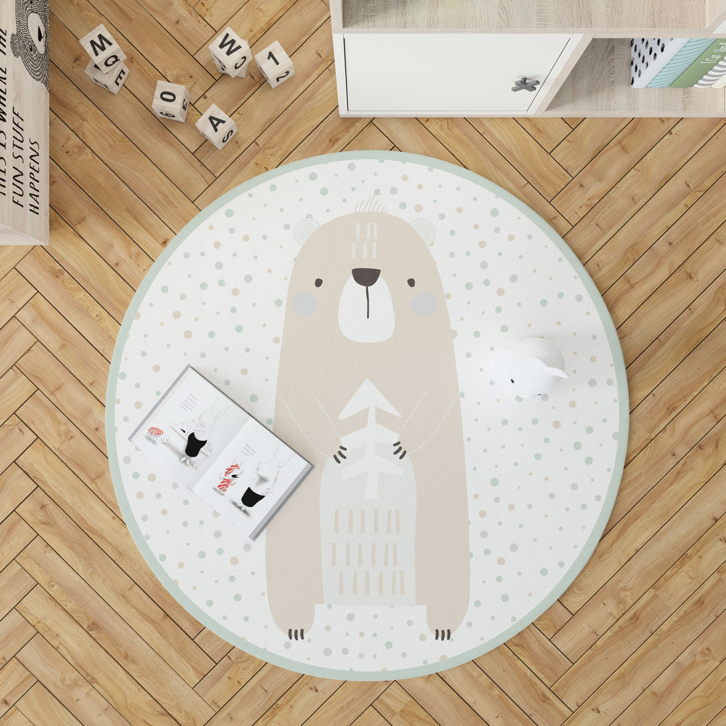 Woodland Friends Green - Alfombra redonda de vinilo Decochic