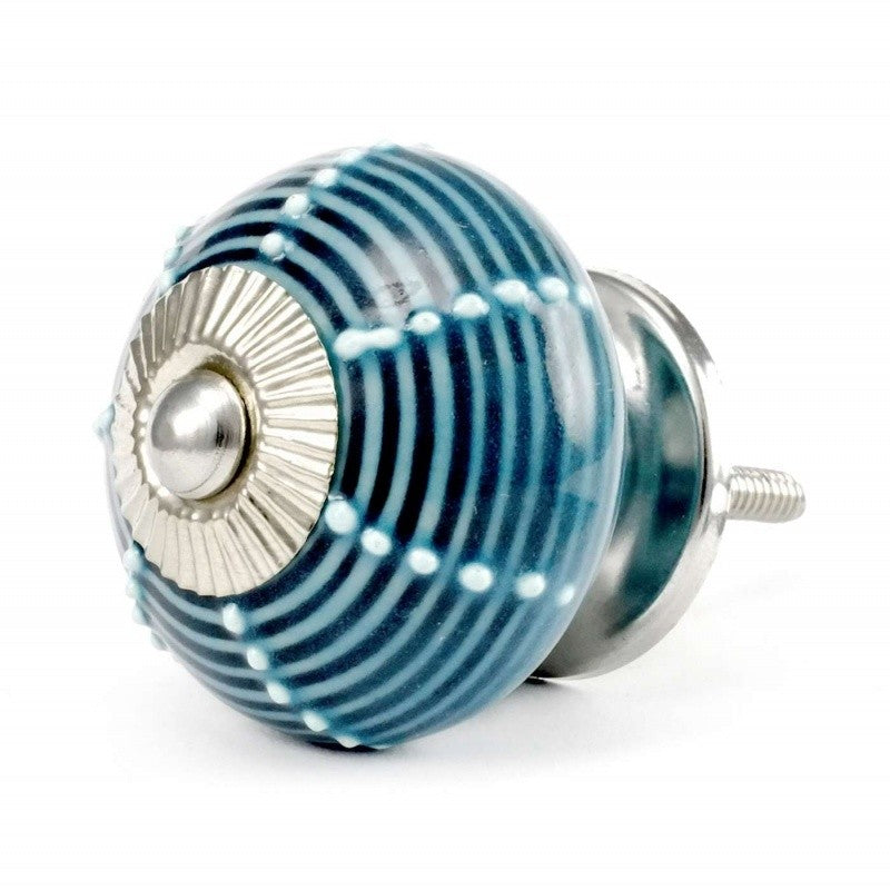 Blue Ceramic Striped Knob - Decochic