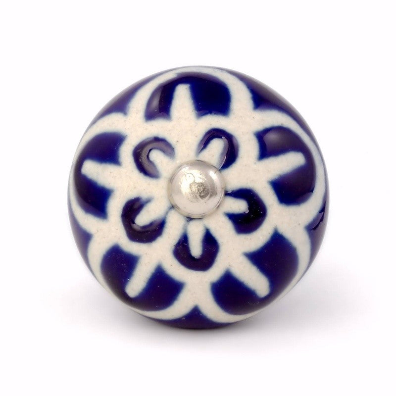 Blue and Beige Ceramic Knob - Decochic