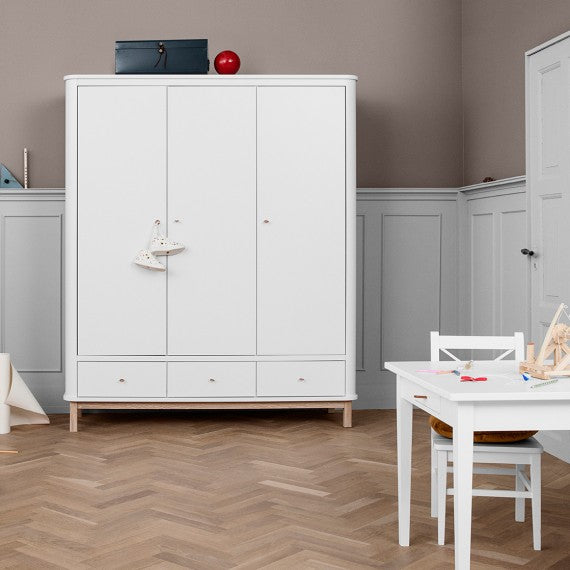 Children's wardrobe at 3 Doors Oliver Furniture White and Wood - Decochic