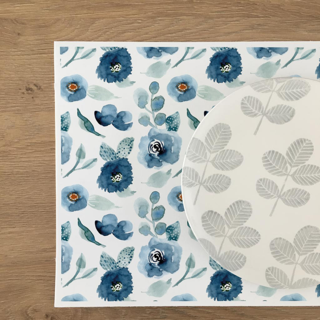 Set de Table Fleurs Aquarelle Bleu - Decochic