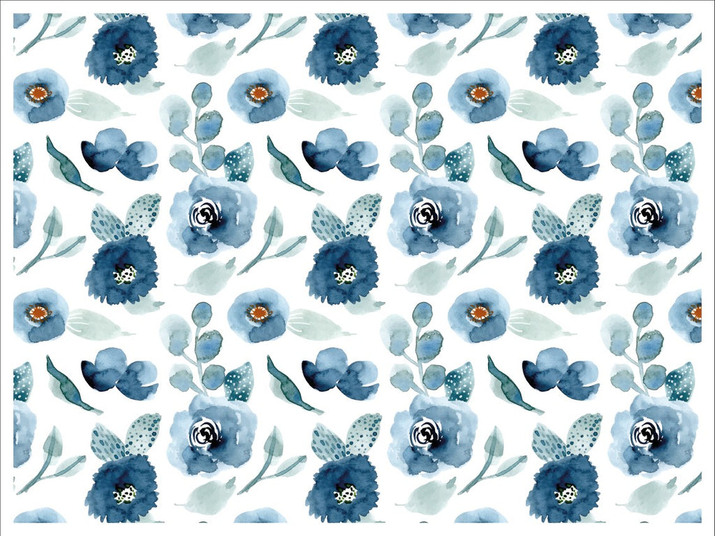 Placemat Flowers Blue Watercolor - Decochic