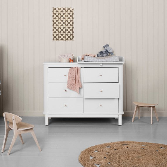 Oliver Furniture Changing Dresser Wood 6 Drawers White - Decochic