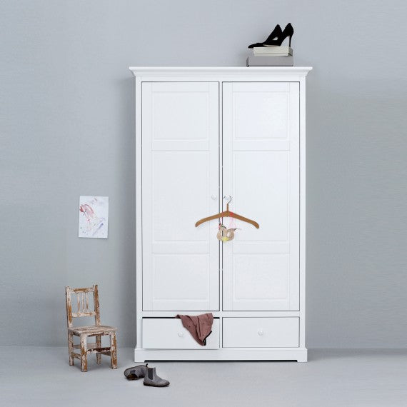 2 Bedroom Wardrobe Ante Seaside Oliver Furniture White - Decochic