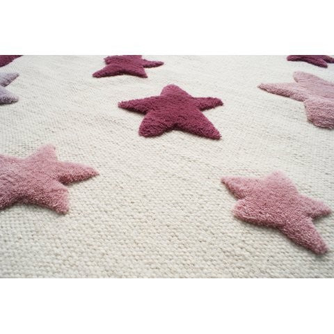 Carpet 120x180 cm Pink and Red Stars Virgin Wool - Decochic