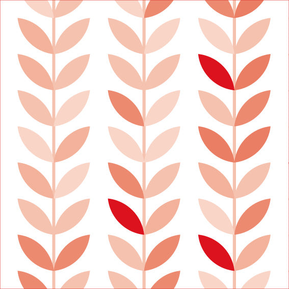 50x200 Vintage Vinyl Red Leaves - Decochic