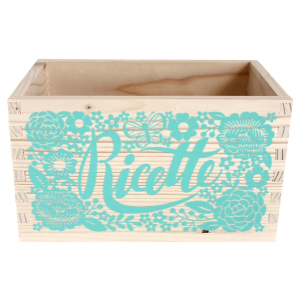 Mint Wooden Box for Recipes with Dividers - Decochic