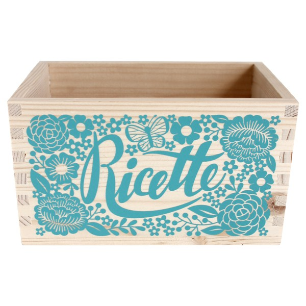Green Wooden Box for Recipes with Dividers - Decochic