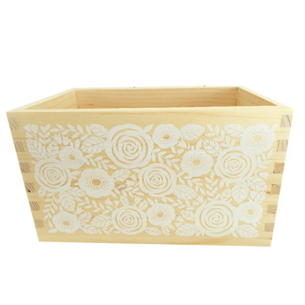 Roses in White Wood Box - Decochic