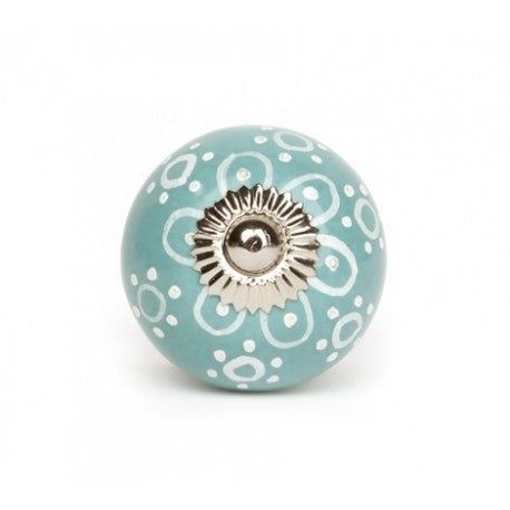Sunflower knob in Turquoise Ceramic - Decochic