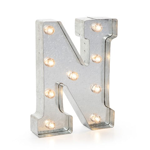 "Lettera Luminosa in Metallo a LED ""N"" - Decochic"