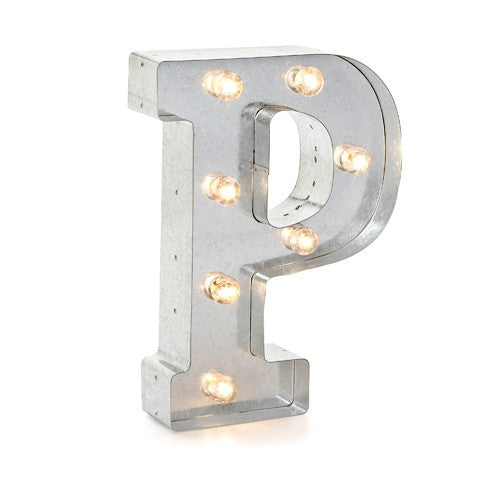 "Letra de metal con luz LED ""P"" - Decochic"